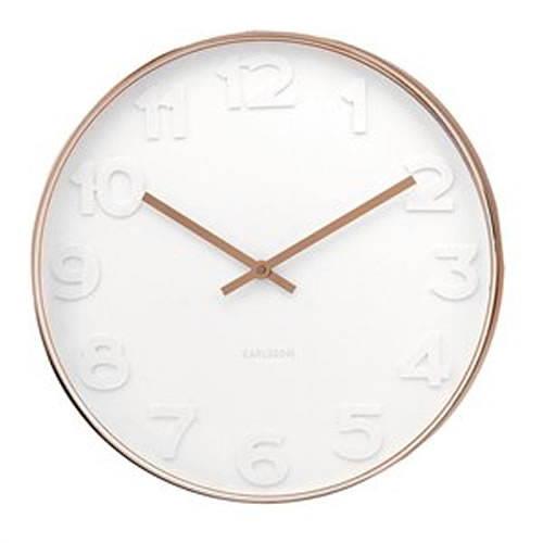 Copper Wall Clock with White Numbers