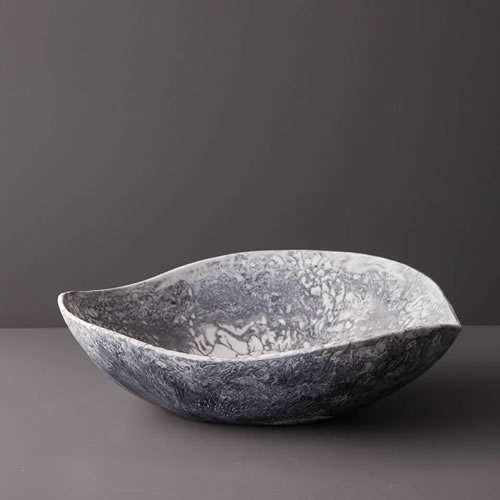 Resin Large Bowl in Grey Marble