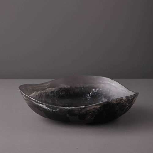 Resin Medium Bowl in Black Marble