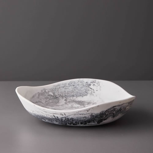 Resin Medium Bowl in Grey Marble