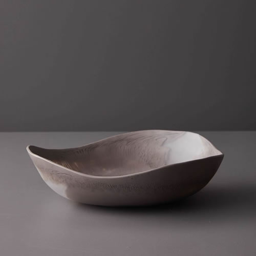 Resin Medium Bowl in Taupe Marble