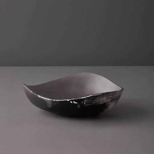 Resin Small Bowl in Black Marble