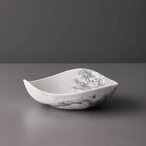 Resin Small Bowl in Grey Marble
