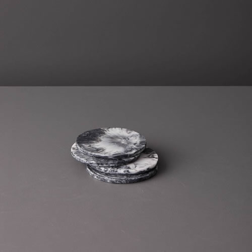 Resin Coaster Set in Grey Marble