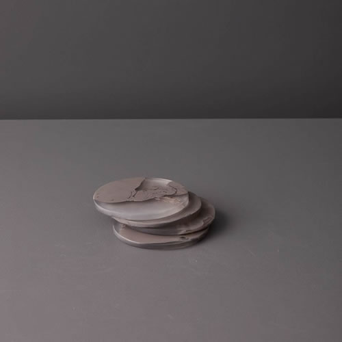 Resin Coaster Set in Taupe Marble