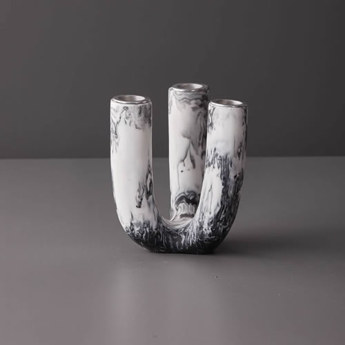 Resin Large Candle Stick Holder in Grey Marble