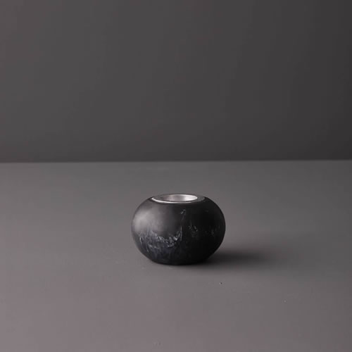 Resin Small Candle Stick Holder in Black Marble