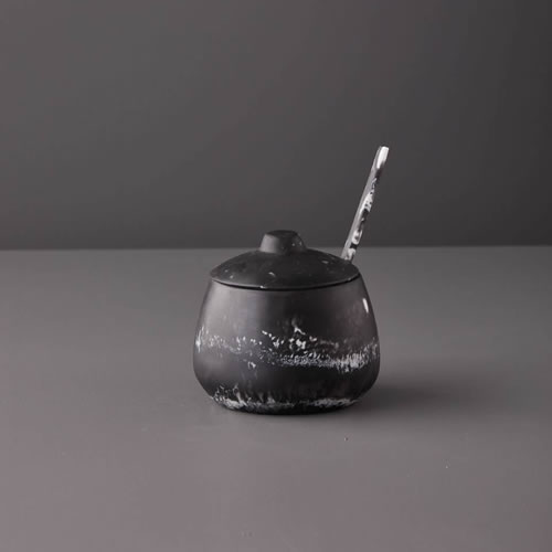 Resin Sugar Bowl in Black Marble