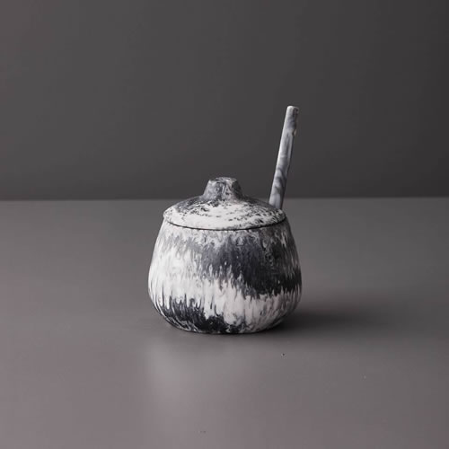 Resin Sugar Bowl in Grey Marble