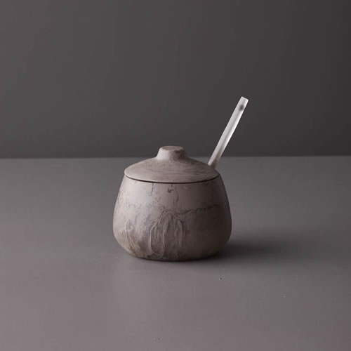 Resin Sugar Bowl in Taupe Marble