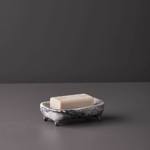 Resin Soap Dish in Grey Marble
