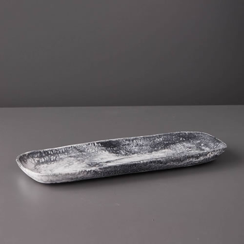 Resin Long Tray in Grey Marble