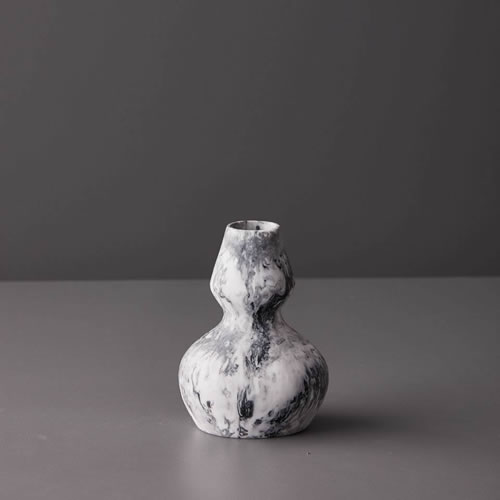 Resin Small Vase One in Grey Marble