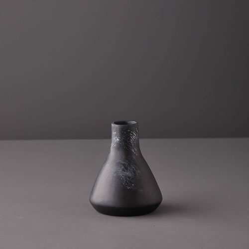 Resin Small Vase Three in Black Marble