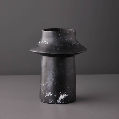 Resin Large Vase in Black Marble