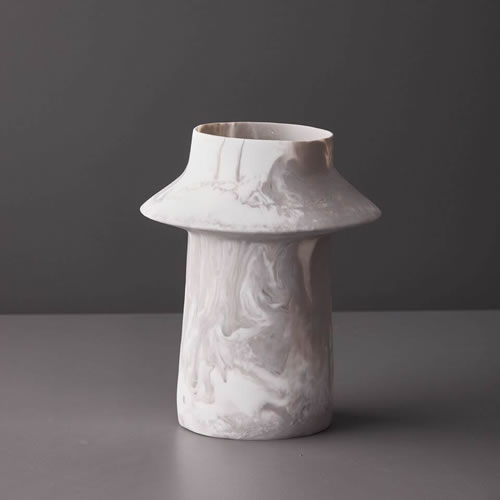Resin Large Vase in Dovetail Marble