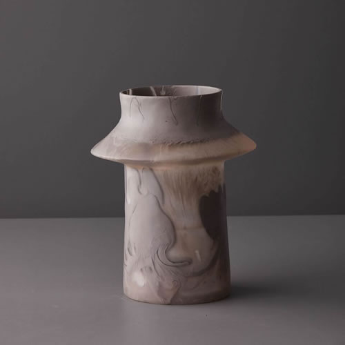 Resin Large Vase in Taupe Marble