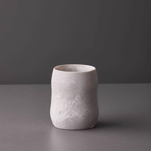 Resin Curvaceous Vase in Dovetail Marble
