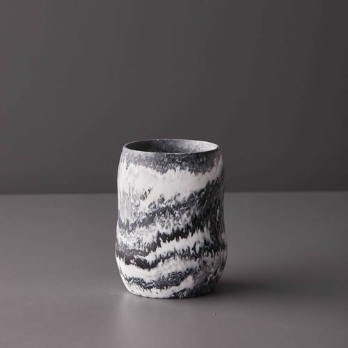 Resin Curvaceous Vase in Grey Marble
