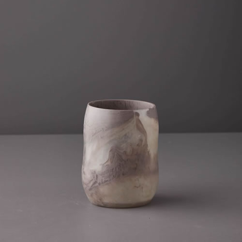 Resin Curvaceous Vase in Taupe Marble