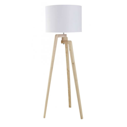 Oslo Floor Lamp in Natural Wood and White