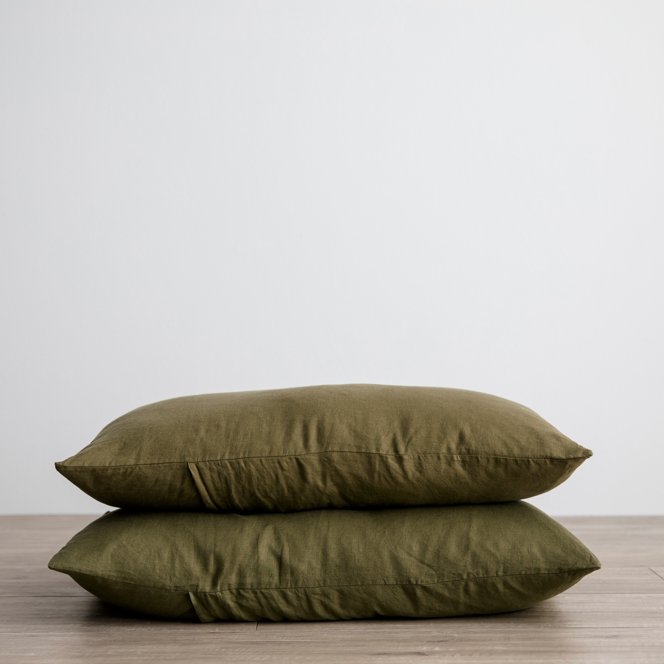 Linen Euro Pillowcases Set of Two - Olive
