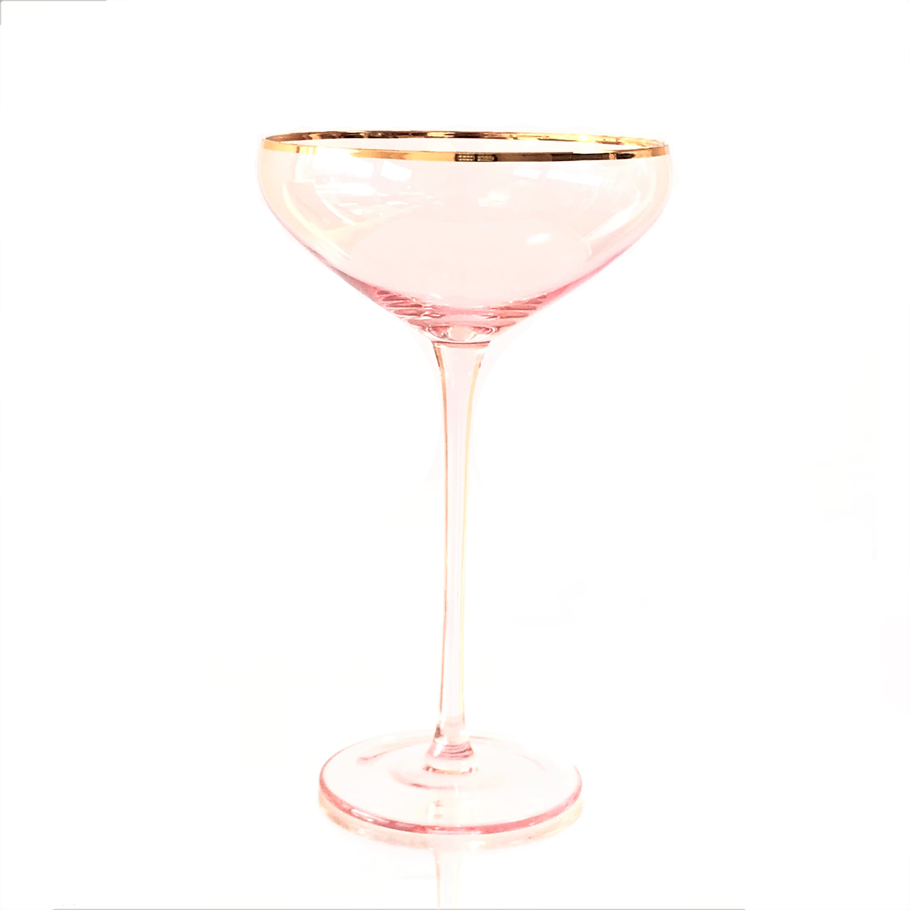 Crystal Pink Champagne Coupe Set of Four