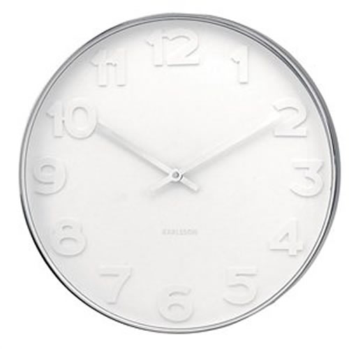 Steel Wall Clock with White Numbers