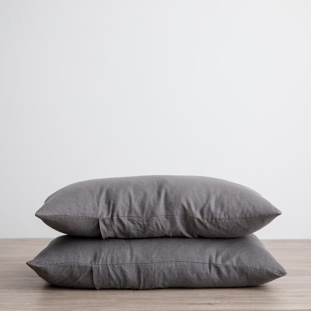 Linen Pillowcases Set of Two - Charcoal Grey