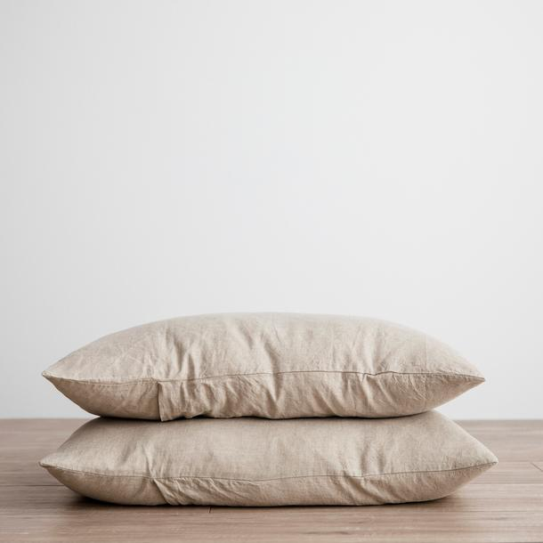 Linen Pillowcases Set of Two - Natural
