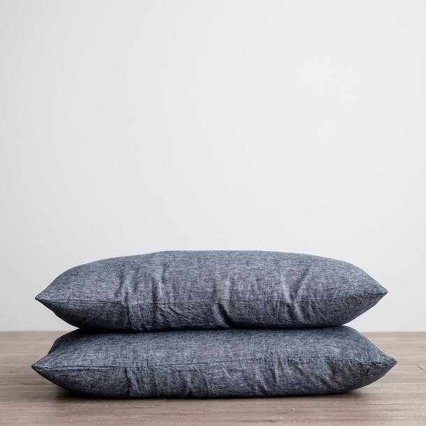 Linen Pillowcases Set of Two - Indigo