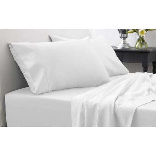1000 TC Hotel Weight Luxury Queen Fitted Sheet 40cm in Snow
