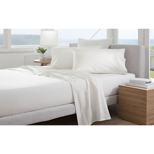 300TC Percale Snow King Fitted Sheet 50cm