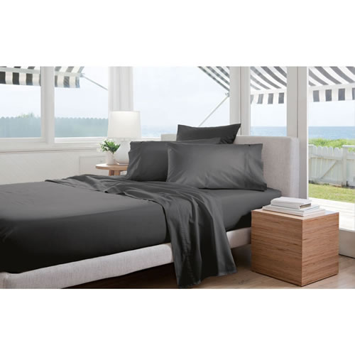 300TC Percale Charcoal Double Sheet Set 40cm