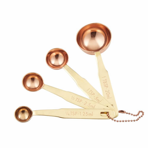 Copper Plated Measuring Spoons Set with Brass Handles