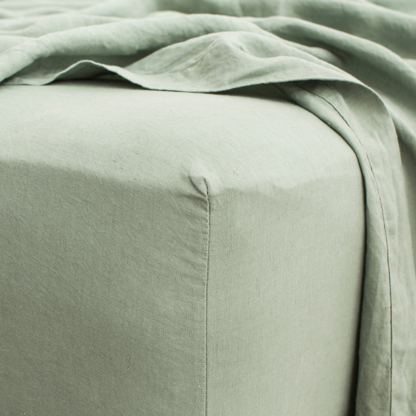 King Linen Fitted Sheet Sage