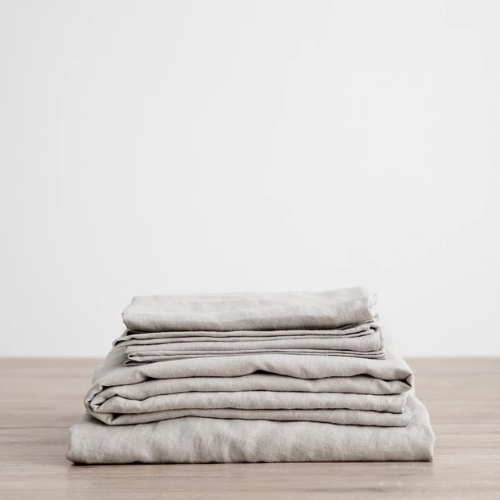 Queen Linen Sheet Set with Pillowcases - Smoke Grey