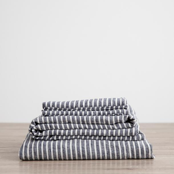 Queen Linen Sheet Set with Pillowcases Indigo Stripe