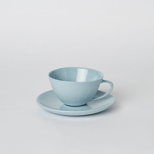 Tea Cup and Saucer in Duck Egg