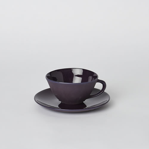 Tea Cup and Saucer in Plum