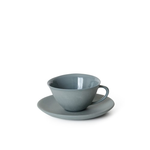 Tea Cup and Saucer in Steel