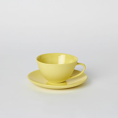 Tea Cup and Saucer in Yellow