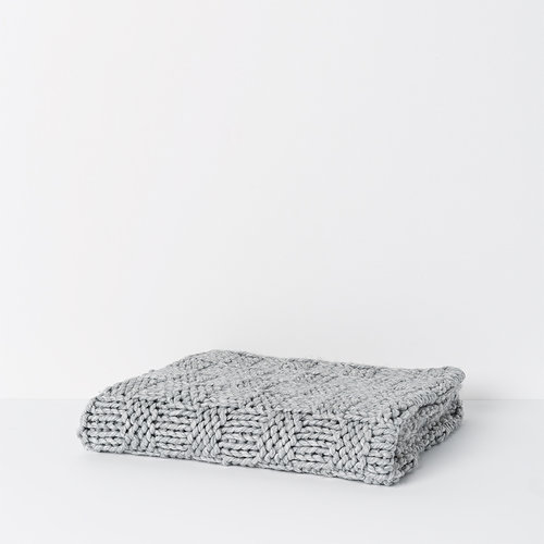 Christer Wool Blend Throw in Soft Grey