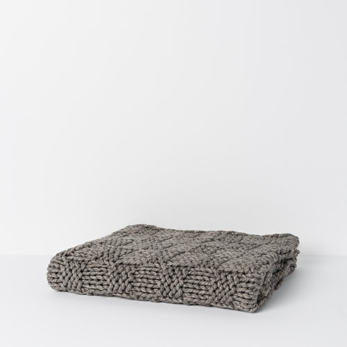 Christer Wool Blend Throw in Dark Grey
