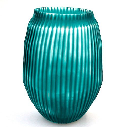 Brian Tunks Cut Glass Medium Vase in Turquoise
