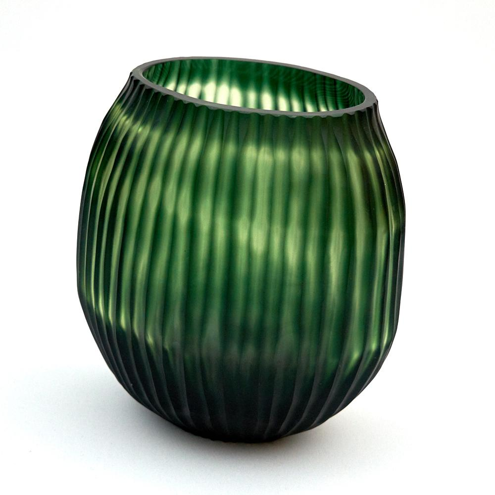 Brian Tunks Cut Glass Small Vase in Leaf