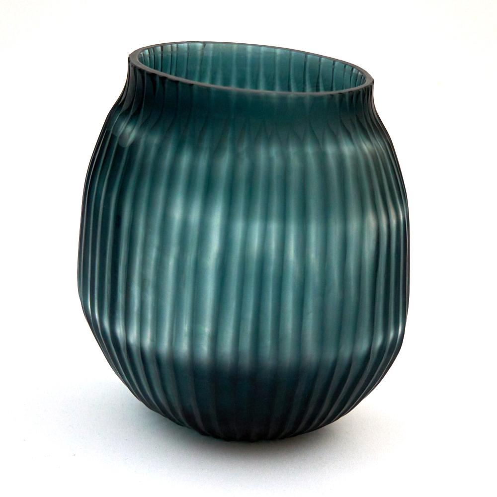 Brian Tunks Cut Glass Small Vase in Petrol