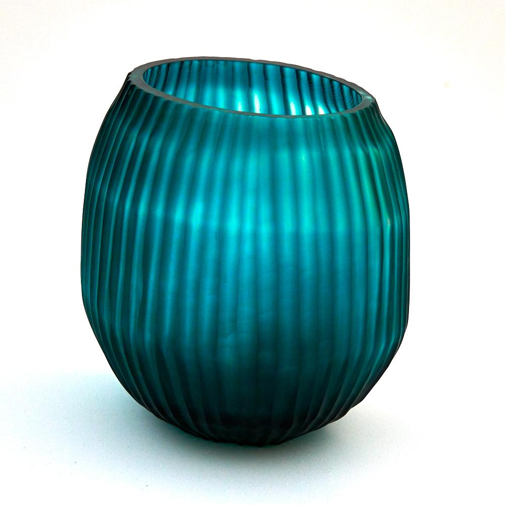 Brian Tunks Cut Glass Small Vase in Turquoise