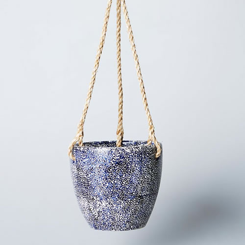 Navy Speckle Hanging Planter