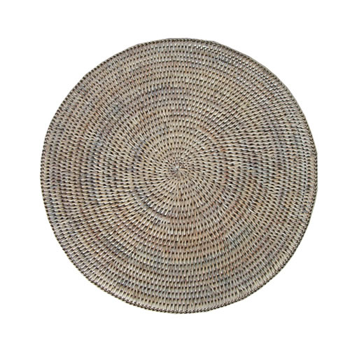 Rattan Round Placemat Whitewash